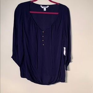 Old Navy Navy Blouse with Gold Buttons